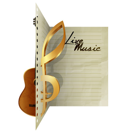 Paper leaf dissecting guitar and treble clef sign with live music. Isolated object on a white background, you can use automatically pick up with any text or image, there is a place for writing text. Illustration