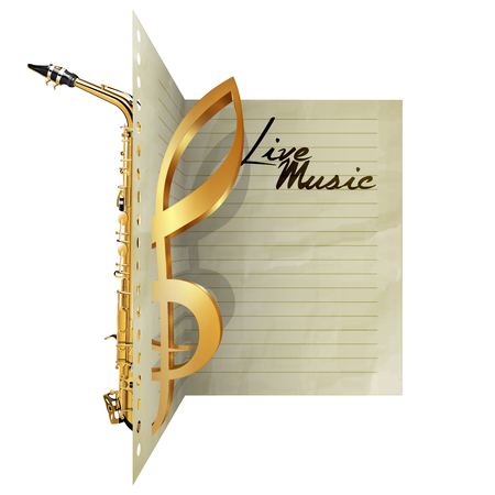 automatically: Paper leaf dissecting saxophone and treble clef sign with live music. Isolated object on a white background, you can use automatically pick up with any text or image, there is a place for writing text. Illustration