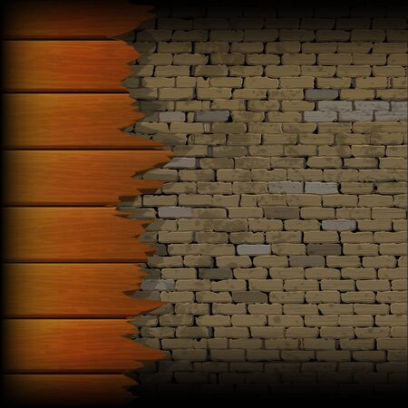 Structure of broken wooden planks on the brick wall background. Blank background text placement can be on a board or wall. Ilustração