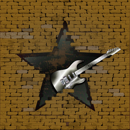 electric material: Iron electric guitar in the gap in the form of a star of the old brick wall. The design and material of the guitar invented by the author and is not covered by the law on copyright. Illustration