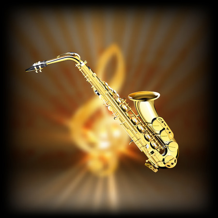 achieved: Saxophone on a blurred background of golden treble clef with flash. Achieved with a black background can be used with any image or text. Illustration