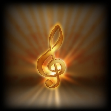 Golden treble clef with the flash on a blurred background. Performing on a black background, can be used with any text or image.