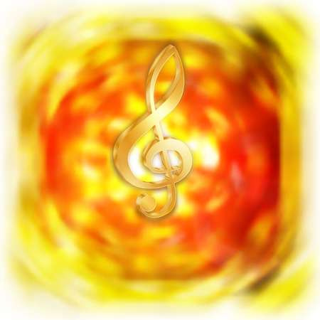 Golden treble clef with a flash on the bright blurred background. Performing on a white background, can be used with any text or image.
