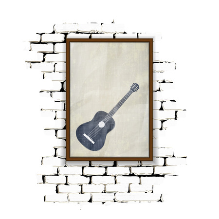 achieved: Musical background wooden frame with glass and patterned acoustic guitar on an old paper on a brick wall. Achieved as isolated objects on a white background with no border can be used with any text or image. Illustration