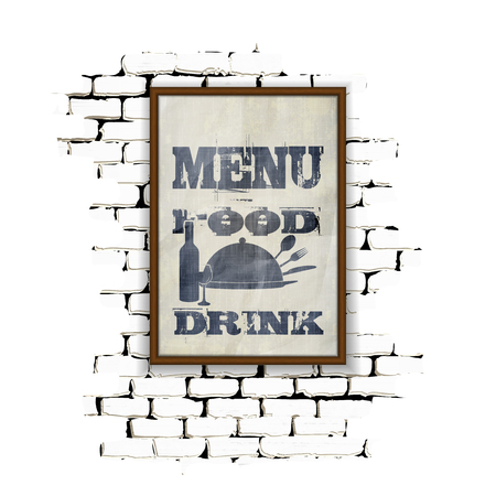 achieved: Template for restaurant menu in a frame on a brick wall. Achieved as isolated objects on a white background with no border can be used with any image or text. Illustration