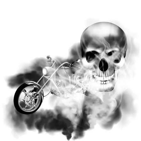 motobike: Motobike chopper in black and white smoke from the skull.