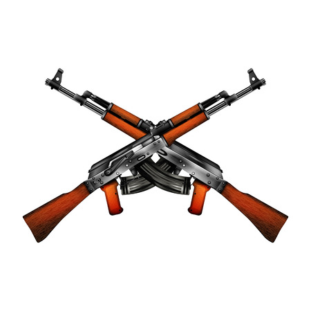 Realistic automatic machine. Isolated object shows the two sides of the weapon can be used with any image or text. Illustration