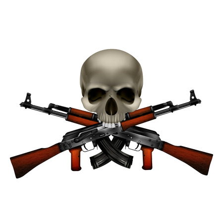 Skull with crossed machine guns. Isolated objects can be used with any image or text.