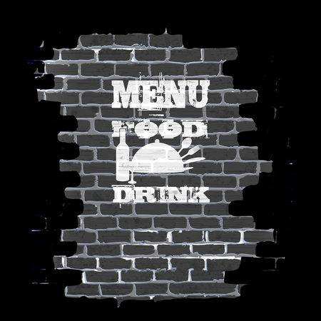 achieved: Template for restaurant menu in a frame on a brick wall. Achieved as isolated objects on a black background with no border can be used with any image or text.
