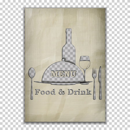 image size: Template menu cover, food and drink menu stencil from old paper. Isolated objects, the substrate can be removed or put your background image. A4 paper size.