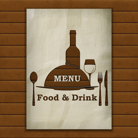 image size: Template menu cover, stencil from old paper on the background of wooden boards. Isolated objects, the substrate can be removed or put your background image. A4 paper size.