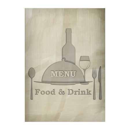 image size: Template menu cover, stencil texture of the old paper. Isolated objects, the substrate can be removed or put your background image.  A4 paper size. Illustration