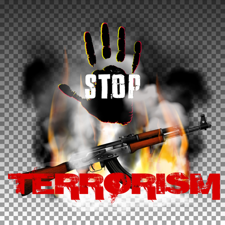 Sign stop terrorism fire with smoke and hand with Kalashnikov machine gun. Isolated objects can be used with any image, text or background. Illustration