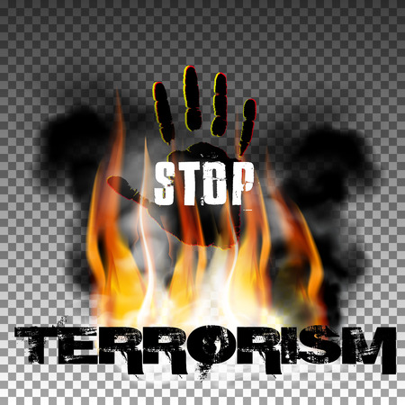 Sign stop terrorism fire with smoke and hand with an inscription in a ragged style. Isolated objects can be used with any image, text or background.