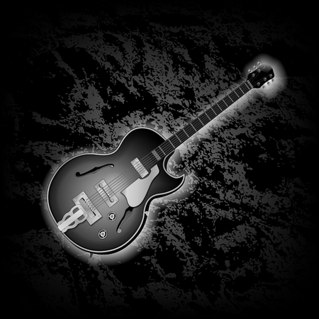 textural: Classical jazz guitar musical instrument on dark textural background. Black background can be used with any image or text. Illustration