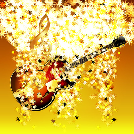decorative design: treble clef in the cloud of stars and jazz guitar