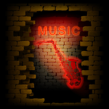 uno: music saxophone neon light in the brick wall uno