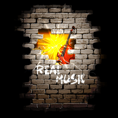 uno: musical breakthrough in brick wall uno Illustration