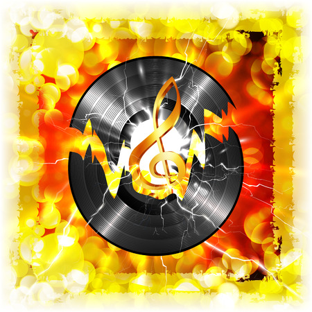 Musical vinyl record and a treble clef on a bright background with the flash. Image exercising on a white background, without edges, can be used with any background or text. Illustration