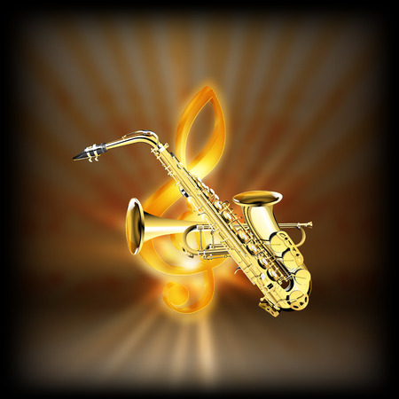achieved: Trumpet and Saxophone on a blurred background of golden treble clef with flash. Achieved with a black background can be used with any image or text.
