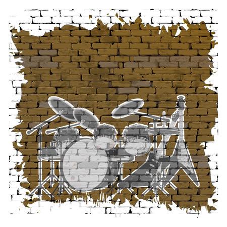 uno: Graffiti hard rock music on an old brick wall uno