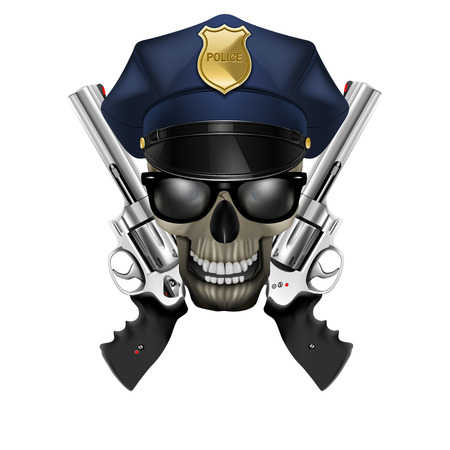 skull with sunglasses in a police cap and revolver Stok Fotoğraf