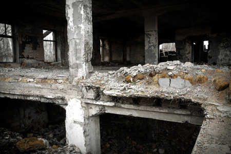 Ukraine, Odessa area destroyed factory. Ruins of the destroyed building or premises.