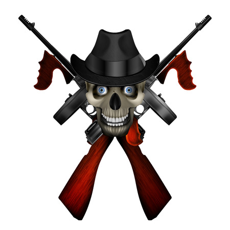 mobster: Realistic Thompson machine with a skull wearing a hat.