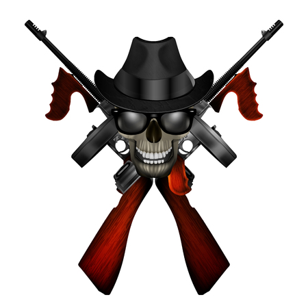 mobster: Realistic Thompson machine with a skull wearing a hat and sunglasses.