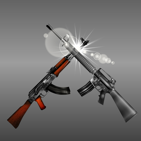 Isolated objects on a gray background weapon Automatic Kalashnikov automatic rifle M16 with flash. You can use any text or image.