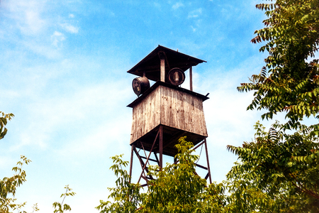 military watch: Watchtower with searchlight