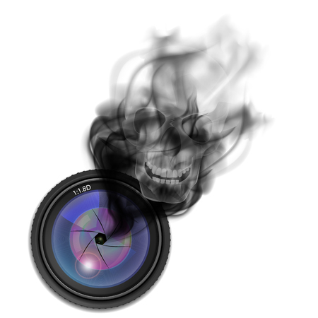 Skull in the smoke from the camera lens Illustration