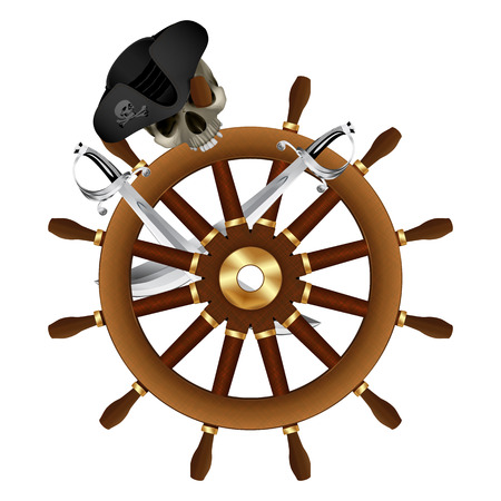 Jolly Roger Pirate steering wheel 向量圖像
