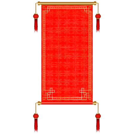 Traditional Asian red scroll