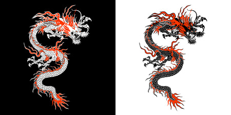 Chinese dragon stencil Ilustração