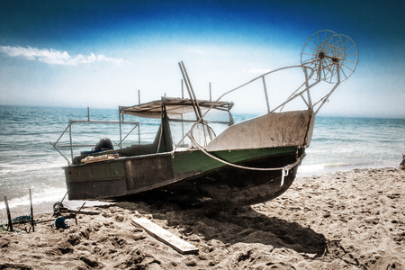 An old abandoned fishing boat