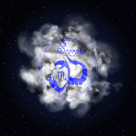 Scorpio Astrology constellation of the zodiac smoke against the background of the starry sky. Illustration