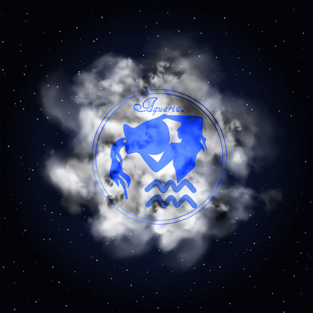 Aquarius Astrology constellation of the zodiac smoke against the background of the starry sky. Çizim