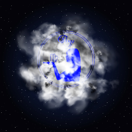 Virgo Astrology constellation of the zodiac smoke against the background of the starry sky.