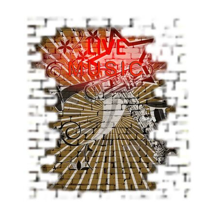 brick wall blurred foreground musical background graffiti with neon text live music Illustration