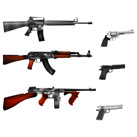 automatic weapons, pistol and revolver