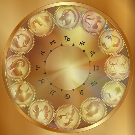 Golden mechanism of the zodiac signs on the gears under the glass, a realistic object.