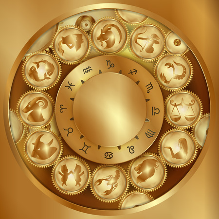 zodiac signs on gears in gold Illustration