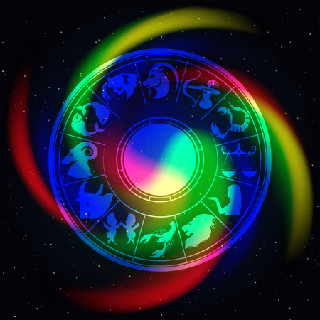 Zodiac signs in space with a color twist