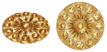 Astrologische sterrenbeelden van gouden objecten geïsoleerd op een witte achtergrond. Het beeld wordt getoond in twee volumetrische projecties. Stock Illustratie
