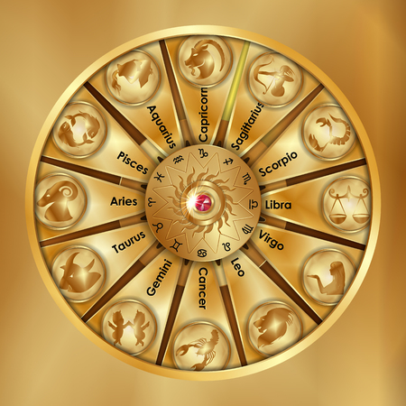 Astrological signs of the zodiac are gold objects.