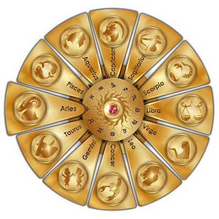 Astrological signs of the zodiac highlighted Aries Illustration