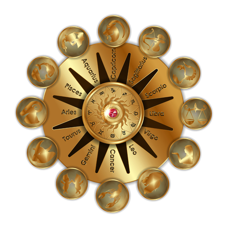 An Astrological Zodiac signs of gold objects isolated on white background.