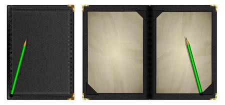 Een blocnote in zwart leren band en een potlood, twee soorten gesloten en open met oude vellen papier worden getoond. Geïsoleerde objecten op witte achtergrond. Stock Illustratie