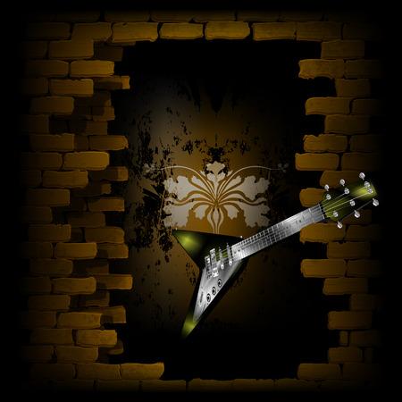 音楽デザイン電気ロックギター レンガの壁の戸口で。  イラスト・ベクター素材